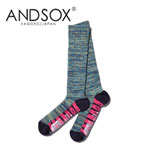 【15%OFF】ANDSOX アンドソックス PILE LONG Lime Mix 靴下 スノーボード MADE IN JAPAN