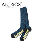 【15%OFF】ANDSOX アンドソックス PILE LONG Purple Mix 靴下 スノーボード MADE IN JAPAN