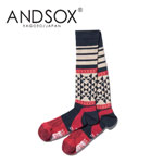 【15%OFF】ANDSOX アンドソックス SUPPORT PILE LONG NATIVE NAVY 靴下 スノーボード MADE IN JAPAN