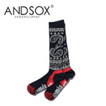 【15%OFF】ANDSOX アンドソックス SUPPORT PILE LONG PAISLY NAVY 靴下 スノーボード MADE IN JAPAN