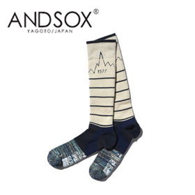 【15%OFF】ANDSOX アンドソックス SUPPORT PILE LONG WHITE MT 靴下 スノーボード MADE IN JAPAN